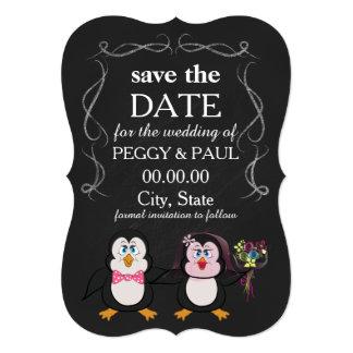 reserva del pingüino del dibujo animado la fecha invitación 12,7 x 17,8 cm