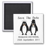 Reserva del pingüino la invitación del boda de la  iman para frigorífico