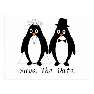 Reserva del pingüino la invitación del boda de la postal