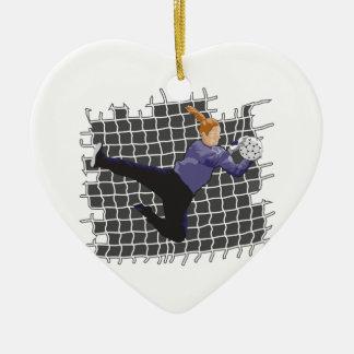reserva del portero del fútbol del chica adorno navideño de cerámica en forma de corazón