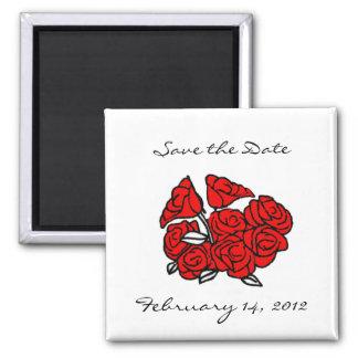Reserva del ramo del rosa rojo la fecha imán cuadrado