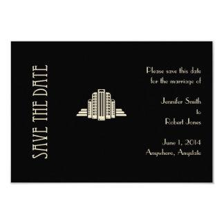 """Reserva del rayo de la torre del art déco la fecha invitación 3.5"""" x 5"""""""