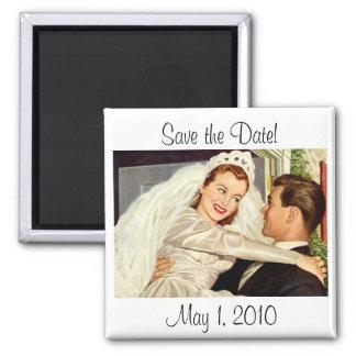 Reserva del recién casado del novio de la novia imán cuadrado