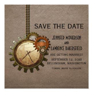 Reserva del reloj del vintage de la moca que la invitación personalizada