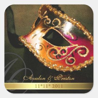 Reserva del remolino de la mascarada del oro el pegatina cuadrada