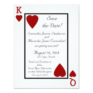 Reserva del rey/de la reina del naipe la fecha invitación 10,8 x 13,9 cm