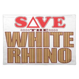 Reserva del rinoceronte blanco manteles individuales
