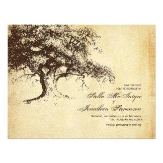 Reserva del roble del vintage el boda de la fecha comunicado