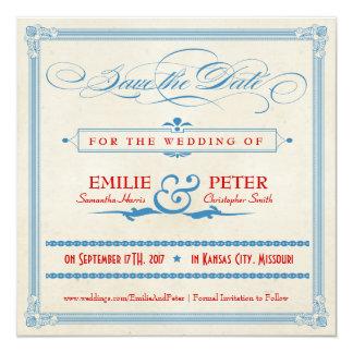 Reserva del rojo, blanca y del azul del poster del invitación 13,3 cm x 13,3cm