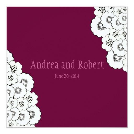 Reserva del rojo de vino la invitación del boda de