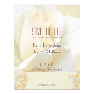 Reserva del rosa blanco la invitación de la fecha
