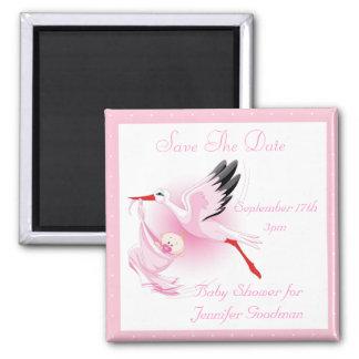 Reserva del rosa de la cigüeña y de la niña la fie imanes para frigoríficos