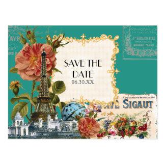 Reserva del rosa de la torre Eiffel del vintage de Tarjeta Postal