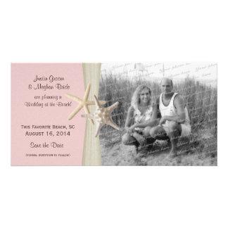 Reserva del rosa de las estrellas de mar del boda  tarjetas con fotos personalizadas