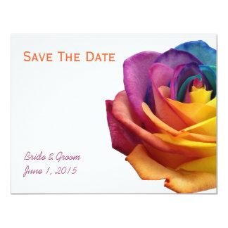Reserva del rosa del arco iris la tarjeta de fecha invitación 10,8 x 13,9 cm