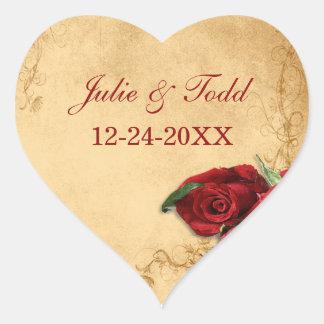 Reserva del rosa del caramelo del vintage el boda calcomanía corazón personalizadas