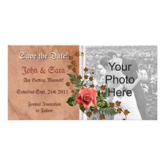 Reserva del rosa del melocotón del otoño que la fo tarjetas personales