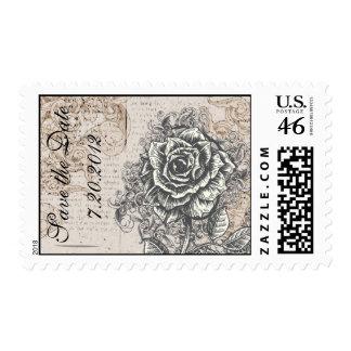 Reserva del rosa del vintage el sello de la fecha