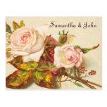 Reserva del rosa del vintage la fecha postal