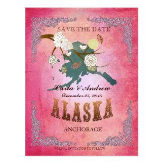 Reserva del rosa la fecha - mapa de Alaska con los Postal