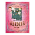 Reserva del rosa la fecha - mapa de Arizona con lo Tarjeta Postal