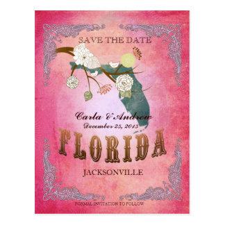 Reserva del rosa la fecha - mapa de la Florida con Postal