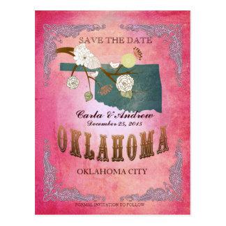 Reserva del rosa la fecha - mapa de Oklahoma con Postal
