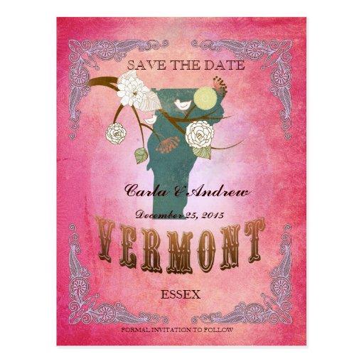 Reserva del rosa la fecha - mapa de Vermont con Postal
