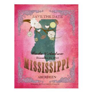 Reserva del rosa la fecha - mapa del ms con los postal