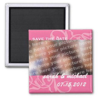 Reserva del rosa la foto de la invitación del boda imanes