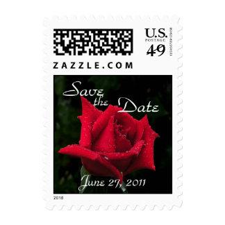 Reserva del rosa rojo el sello de fecha