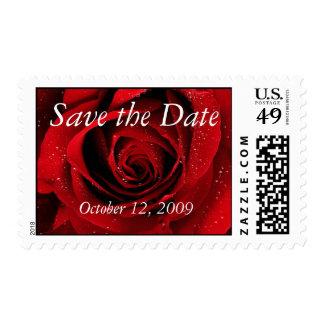 Reserva del rosa rojo la fecha timbre postal