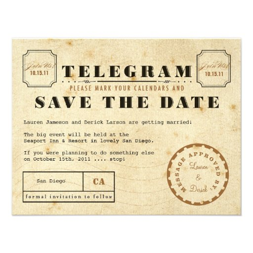 Reserva del telegrama del vintage la fecha anuncios
