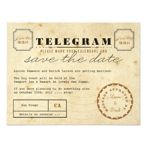 Reserva del telegrama del vintage la fecha comunicado