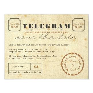 """Reserva del telegrama del vintage la fecha invitación 4.25"""" x 5.5"""""""