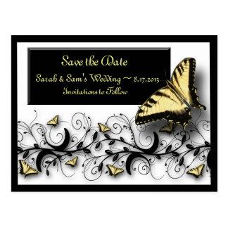 Reserva del tema de la mariposa la fecha tarjetas postales