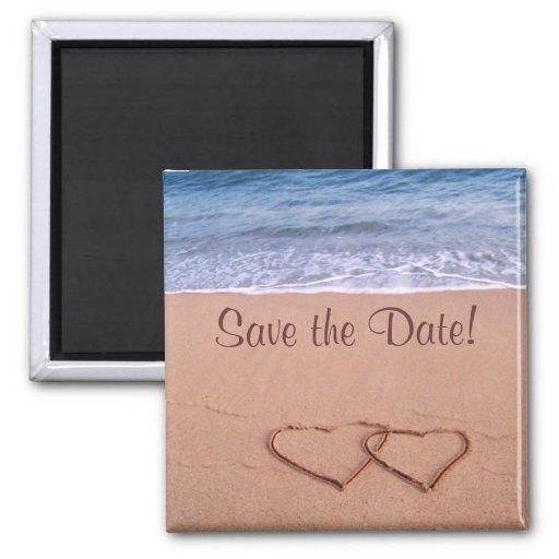 ¡Reserva del tema de la playa la fecha! Iman De Frigorífico