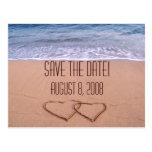 Reserva del tema de la playa la fecha tarjetas postales