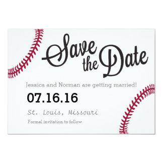 "Reserva del tema del béisbol la fecha invitación 5"" x 7"""