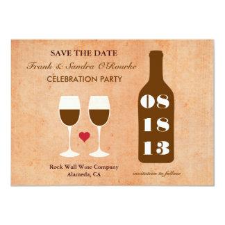 """Reserva del tema del vino la tarjeta de fecha invitación 4.5"""" x 6.25"""""""