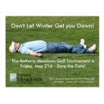 Reserva del torneo del golf la tarjeta de fecha tarjetas postales