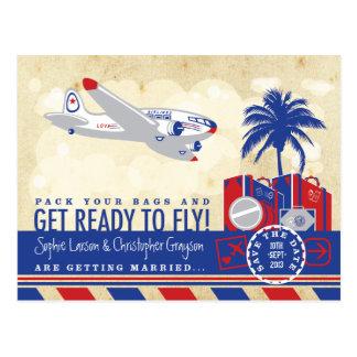 Reserva del viaje de la línea aérea del vintage la postales
