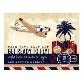 Reserva del viaje de la línea aérea del vintage la tarjetas postales