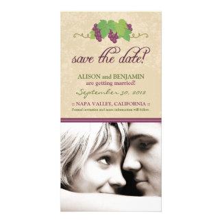 Reserva del viñedo la invitación de la fecha (perg tarjetas personales con fotos