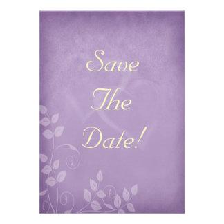 Reserva del vintage de la lavanda la fecha invitación