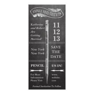 Reserva del vintage de la pizarra la fecha comunicados personales