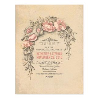 reserva del vintage del polluelo de las flores del postal