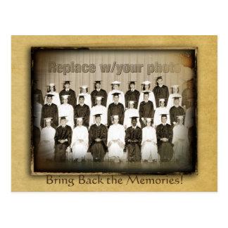 Reserva del vintage la reunión de la fecha tarjeta postal