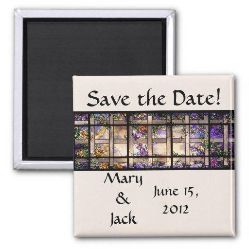 Reserva del vitral del vintage el imán de la fecha