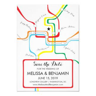 """Reserva del Washington DC el mapa del metro de la Invitación 5"""" X 7"""""""